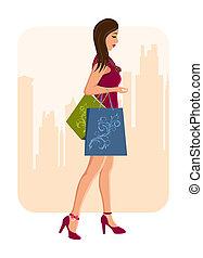 városi, leány, bevásárlás, háttér, pantalló