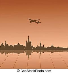 városi, moszkva, vektor, táj, ábra