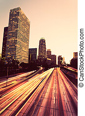 városi, napnyugta, város