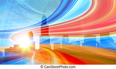 városi, Nyomoz, színes, Város, fény, Kivonat,  modern, belvárosi, Ábra, indítvány, haladó, gyorsaság, autóút
