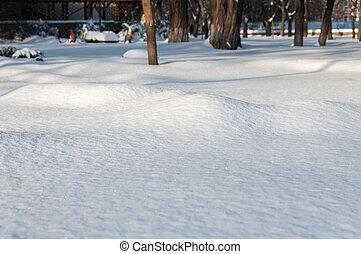 városi park, alatt, tél, hó, felhalmoz