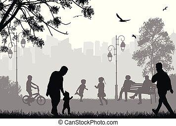 városi park, körvonal, emberek