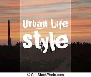 városi, rendkívüli, életmód, banner., poszter, theme., háttér., vektor, napnyugta, divatba jövő, város, táj