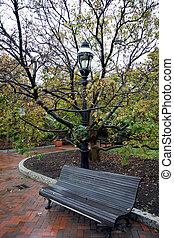 városi, sarok, noha, egy, bírói szék, -ban, ősz