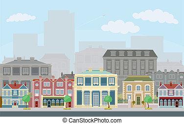 városi, utca táj, noha, furfangos, város épület