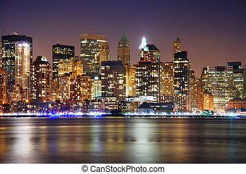 városi, város, éjszaka, láthatár