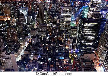 városi, város, építészet, láthatár, felülnézet