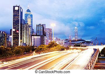 városi, város, nyomoz, modern, háttér., forgalom, cityscape