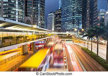 városi, Város, Nyomoz,  modern, háttér, Forgalom,  Cityscape