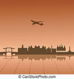 városi, vektor, táj, ábra, amszterdam