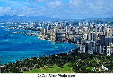 városnézés, közül, honolulu, hawaii