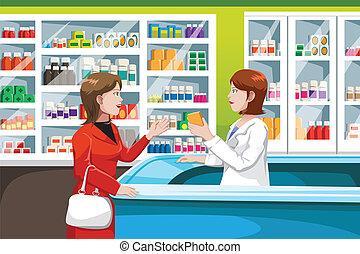 vásárlás, orvosság, alatt, gyógyszertár