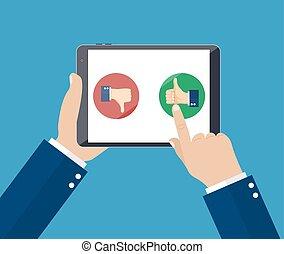 vásárló, értékelés, illustration., szolgáltatás