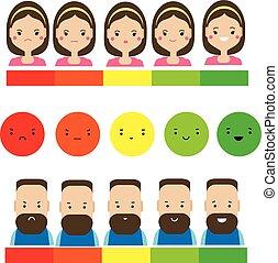 vásárló, értékelés, nő, visszacsatolás, elvont, service., ember, emoji
