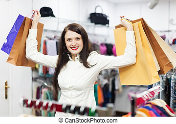 vásárló, öltözet, női, bolt