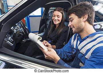 vásárló, autószerelő