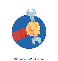 vásárló, birtok, szolgáltatás, technical segítség, ábra, kéz, vektor, rendbehozás, csavarkulcs, karikatúra