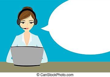 vásárló, fejhallgató, számítógép, jellegzetes, szolgáltatás
