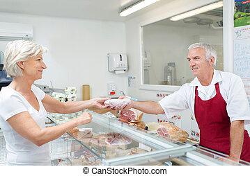 vásárló, felszolgálás, hentes