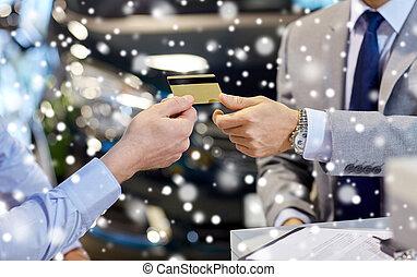 vásárló, fogadószoba, odaad, autó, hitel, osztó, kártya