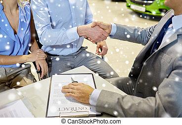 vásárló, kézfogás, autó, fogadószoba, autóügynök
