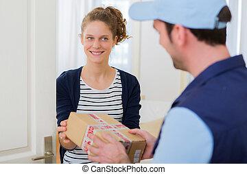 vásárló, kezelő, csomag, felett, felszabadítás bábu