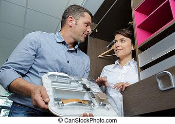 vásárló, kiválasztás, szekrény, kiállítás, kortárs, bán, eladó
