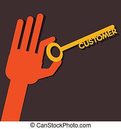 vásárló, kulcs, kéz