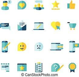 vásárló, lakás, állhatatos, szolgáltatás, áttekint, megbízók, vektor, rang, ikonok, lojalitás