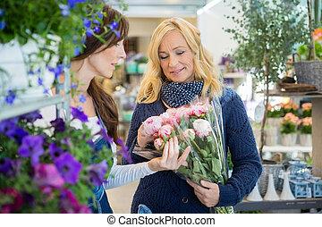 vásárló, nő, csokor, kiállítás, értékesítések, virág készlet