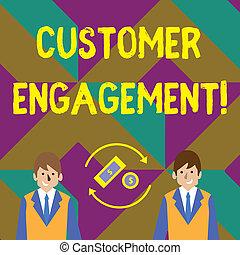 vásárló, nyílvesszö, belső, fénykép, engagement., pénz, márka, között, dollár, két, businessmen., aláír, forgó, pénznem, összeköttetés, szöveg, fogalmi, érzelmi, kiállítás