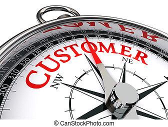 vásárló, piros, szó, képben látható, fogalmi, iránytű
