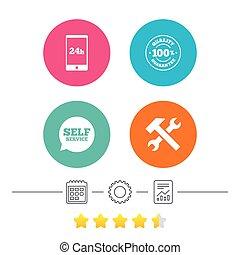 vásárló, rendbehozás, szolgáltatás, rögzít, icons., szerszám, signs.