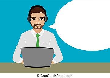 vásárló, számítógép, headset., jellegzetes, szolgáltatás