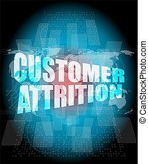 vásárló, térkép, ellenző, elhasználódás, szavak, digital ...