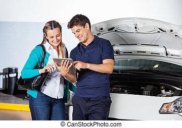vásárló, tabletta, autószerelő, digitális, használ