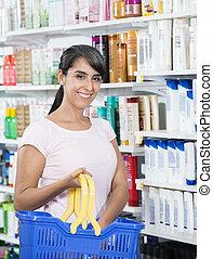 vásárló, vásárlás, kozmetikum, alatt, gyógyszertár