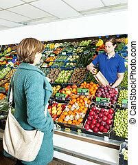 vásárló, zöldséges, felszolgálás