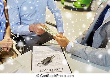vásárlók, pénz, odaad, autó, fogadószoba, autóügynök