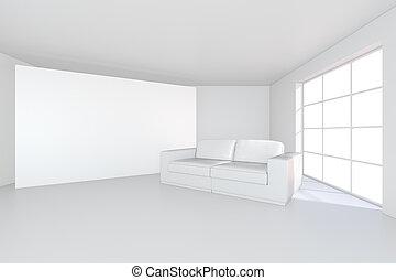 vászon, szoba, modern, sofa., vakolás, hirdetőtábla, fehér, üres, 3