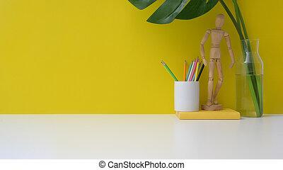 váza, up, figura, workspace, grafické pozadí, pencils., hloupý hradba, názor, uzavřít, deska, exemplář, zbabělý, proložit, neposkvrněný