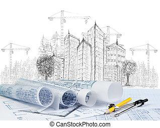 vázlat, közül, modern épület, szerkesztés, és, terv,...