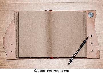vázlatfüzet, öreg, nyílik, ceruza, fából való, szüret, jegyzetfüzet, asztal., vagy