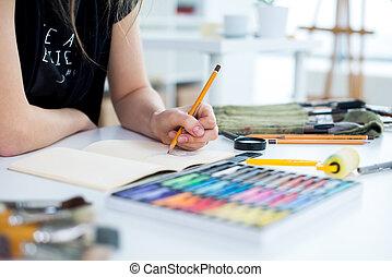 vázlatfüzet, közelkép, művészet, használ, művész, ...