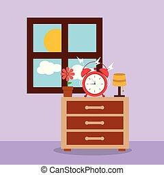 väckarklocka, på, nattduksbord, vaken, morgon, fönster
