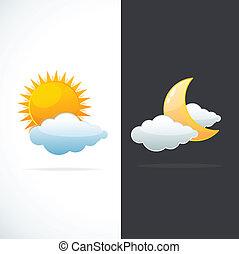 väder, sol, vektor, måne, ikonen