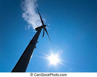 väderkvarn, driva, energi, genom, alternativ, linda