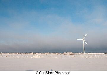 väderkvarn, och blåa, sky, in, vinter