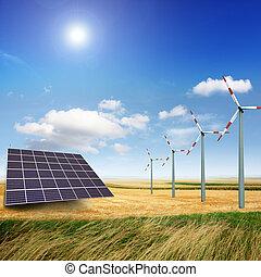 väderkvarn, och, photovoltaic