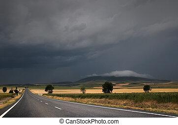 väg, över, den, oväder